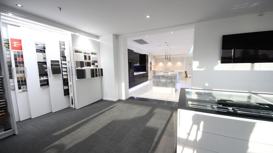 Kitchen Showroom Sydney - Chipping Norton. Sample Boards for Polytec, Formtek, Caesarstone, Quantum Quartz, Laminex and Formica.