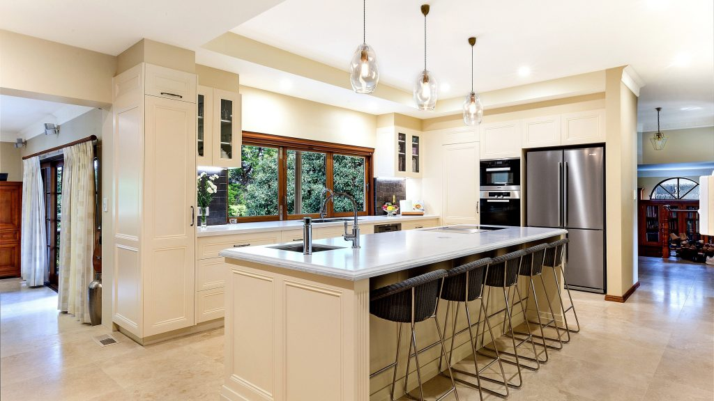 AFTER Epping Renovation - Provincial Style kitchen in a Satin Polyurethane finish with a Carrara Marble benchtop