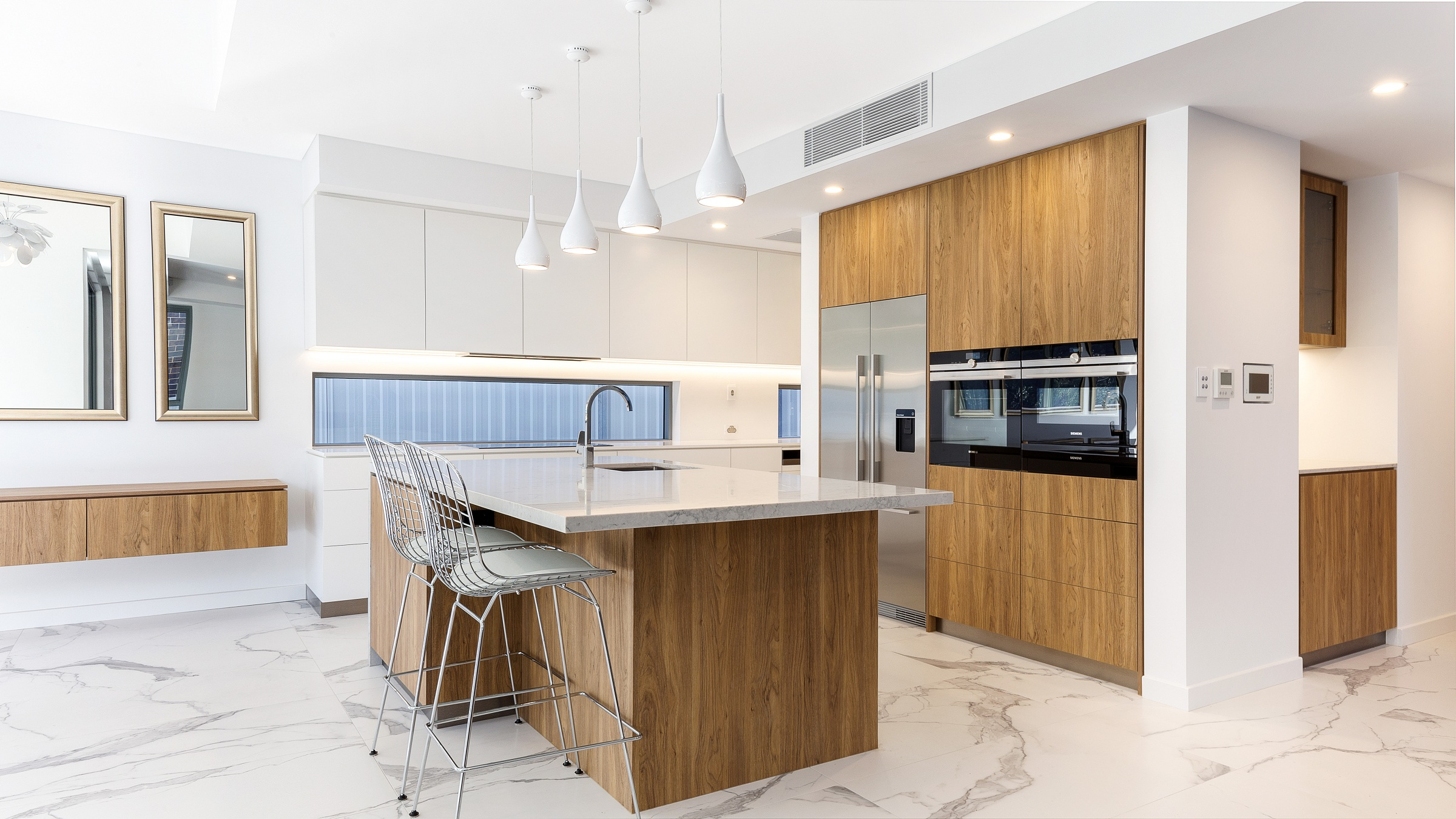 Oatley Kitchen, Polyurethane and Likewood finish with a Caesarstone Noble Grey benchtop