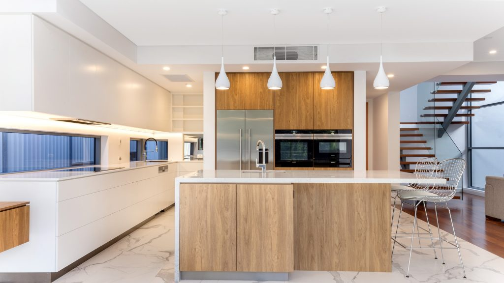 Oatley Kitchen, Polyurethane and Likewood finish with a Caesarstone Noble Grey benchtop