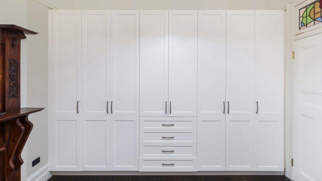 Satin Polyurethane wardrobe with a double step Shaker style design - Haberfield, Sydney