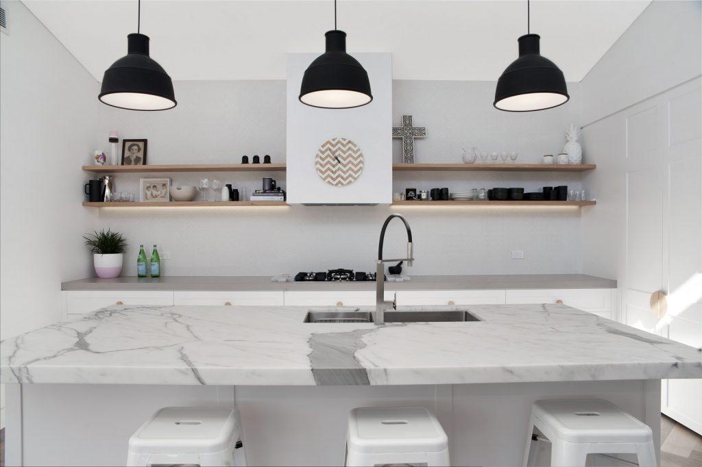 Northbridge Sydney, Satin Polyurethane Shaker Style kitchen with a Calacatta Marble Island Benchtop