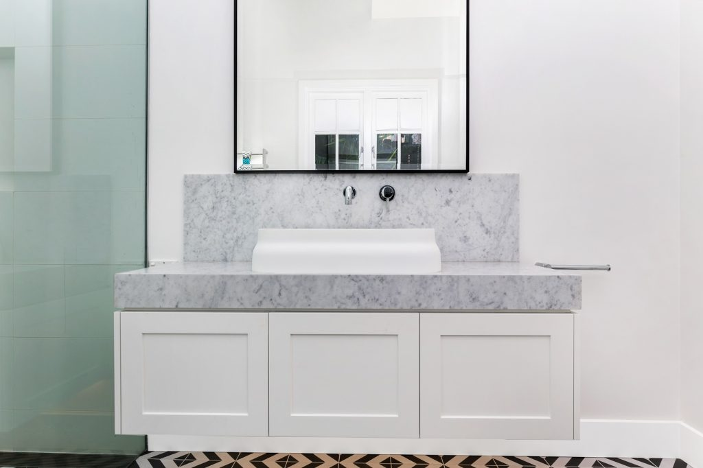 Shaker style vanity with Carrara Marble top - Collaroy, Sydney