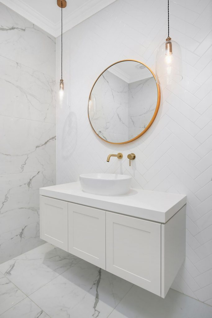 Shaker Style vanity with over-mount sink - Georges Hall, Sydney