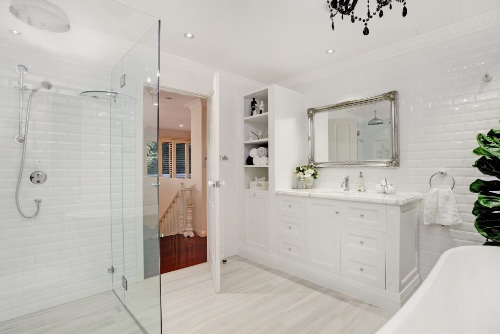 Provincial style vanity with a marble top - Alfords Point, Sydney