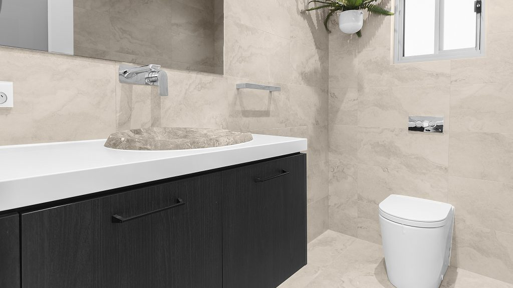 Timber Look Laminate vanity and stone top - Sefton, Sydney