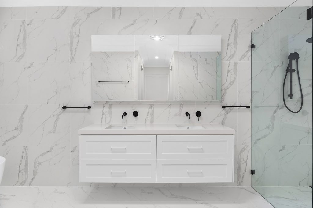 Shaker style double basin vanity with mirror cabinets above - Kellyville, Sydney