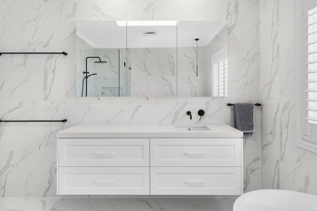 Shaker style vanity with mirror cabinets above - Kellyville, Sydney