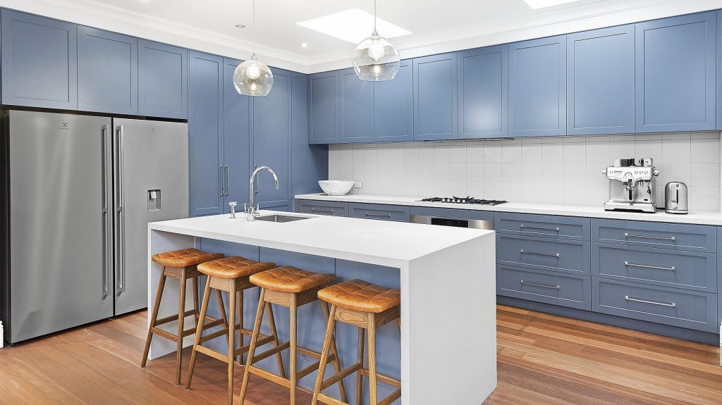AFTER Annandale Renovation, Shaker style Polyurethane kitchen with a 40mm Statuario Maximus benchtop
