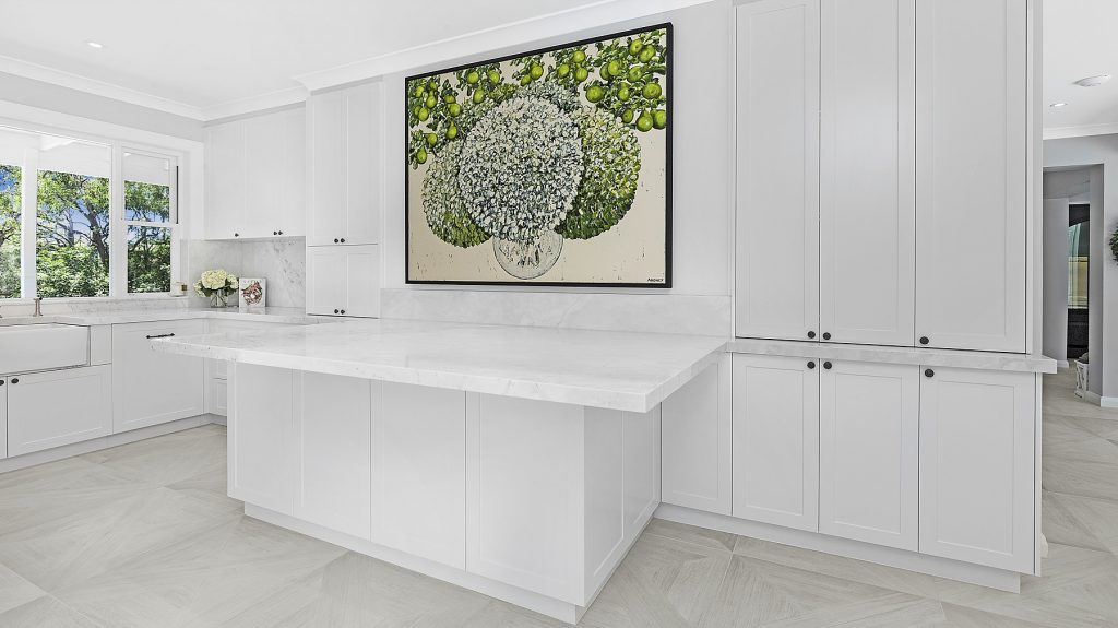 AFTER Oatley Renovation, Shaker style kitchen with a Carrara marble benchtop