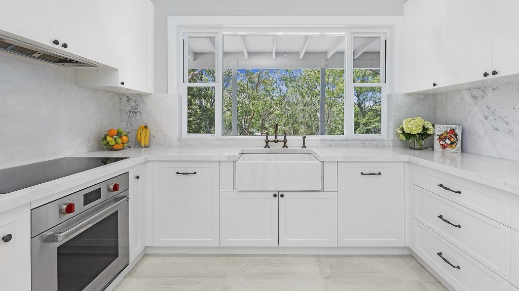 Oatley, Shaker style kitchen with a Carrara marble benchtop