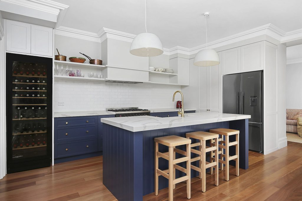 Stanmore, Shaker Style kitchen in Winter Terrace and Blue Rhapsody Polyurethane with a Smart Stone Borghini Naturale benchtop