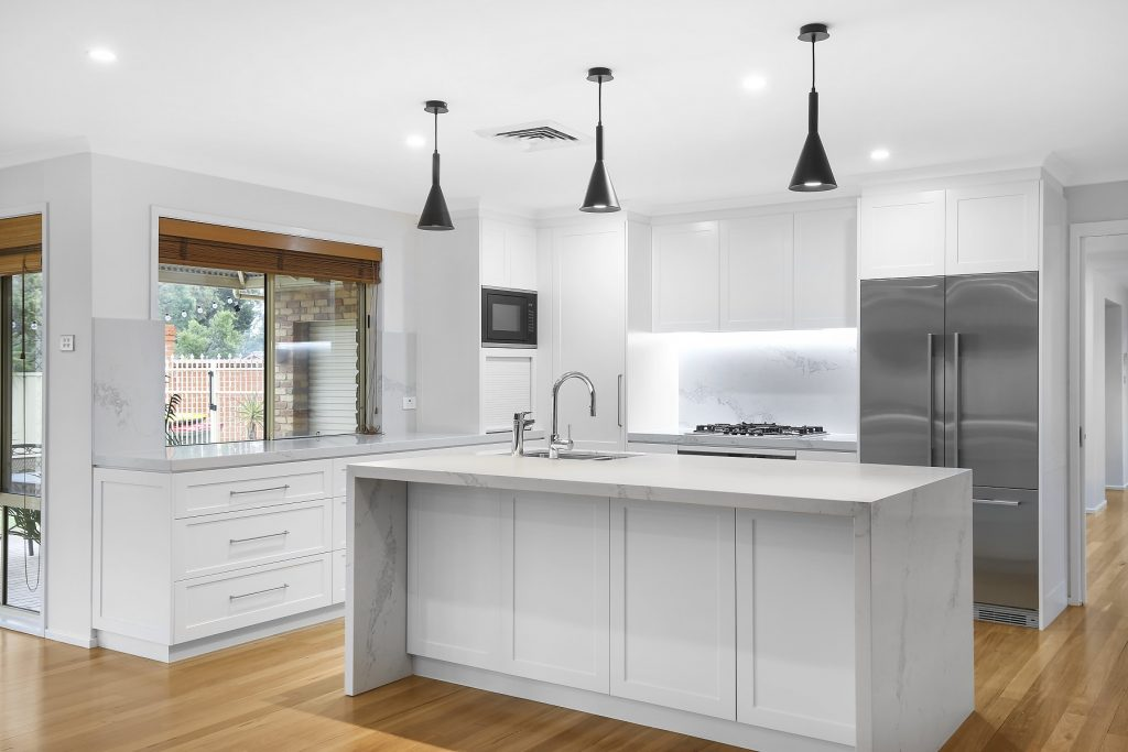 AFTER Wattle Grove Renovation, Polyurethane Shaker Style kitchen