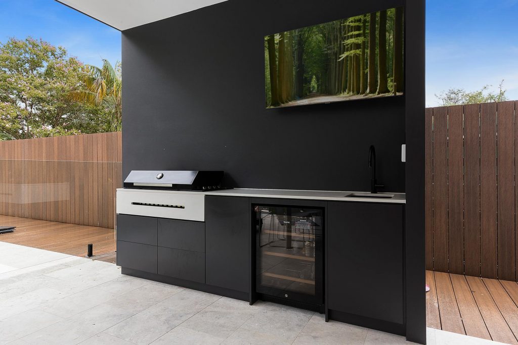 Full waterproof polyurethane BBQ area with Stone bench - Concord, Sydney