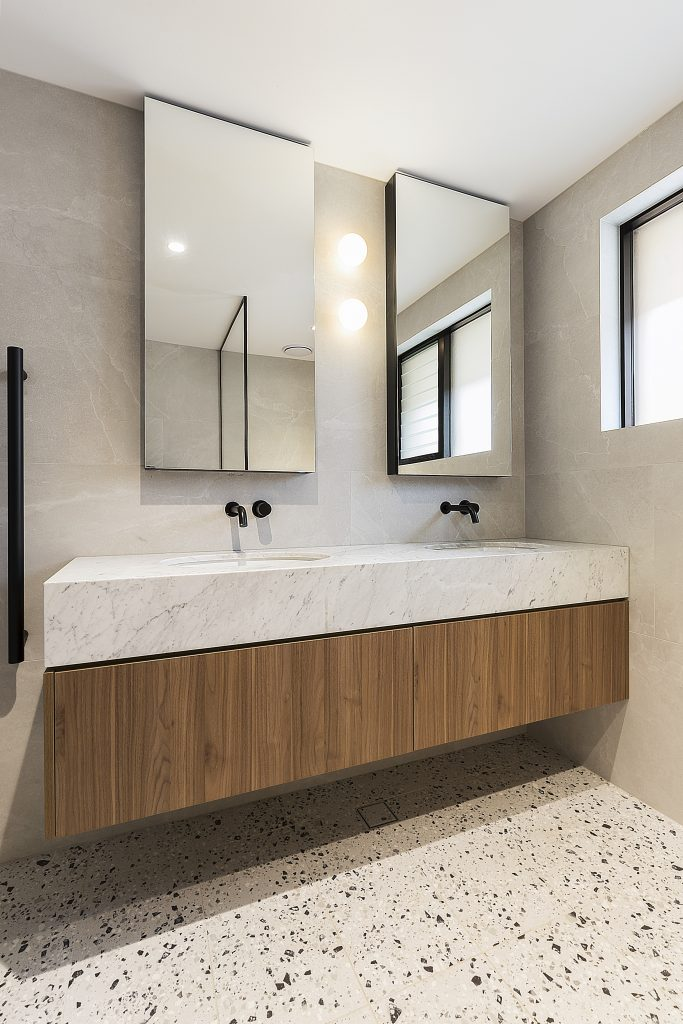Polytec Woodmatt double vanity with a Carrara Marble top and mirror cabinets - Concord, Sydney