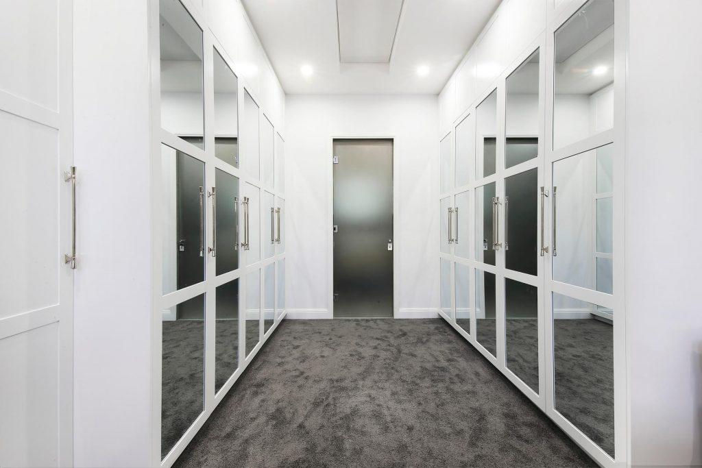 Polyurethane Shaker wardrobe doors with mirror insert panels - Brighton Le Sands, Sydney