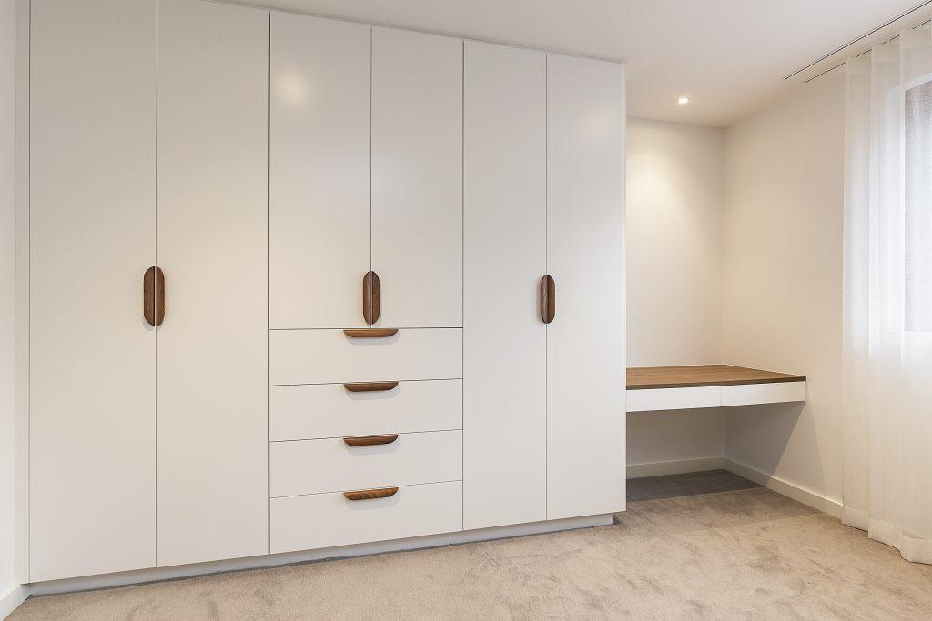 Satin Polyurethane wardrobe and study desk with a Polytec Woodmatt top - Concord, Sydney