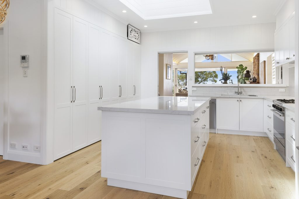 AFTER Narraweena Renovation - Polyurethane Shaker Style kitchen with a Quantum Quartz benchtop in Michelangelo