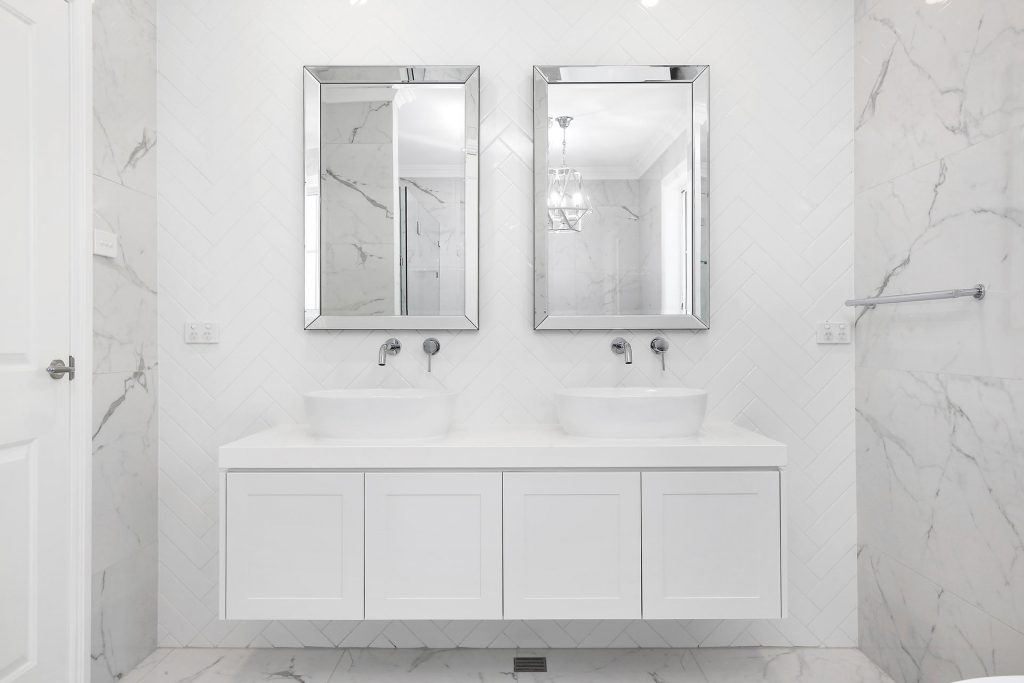 Double vanity with Shaker doors and over-mount sinks - Georges Hall, Sydney