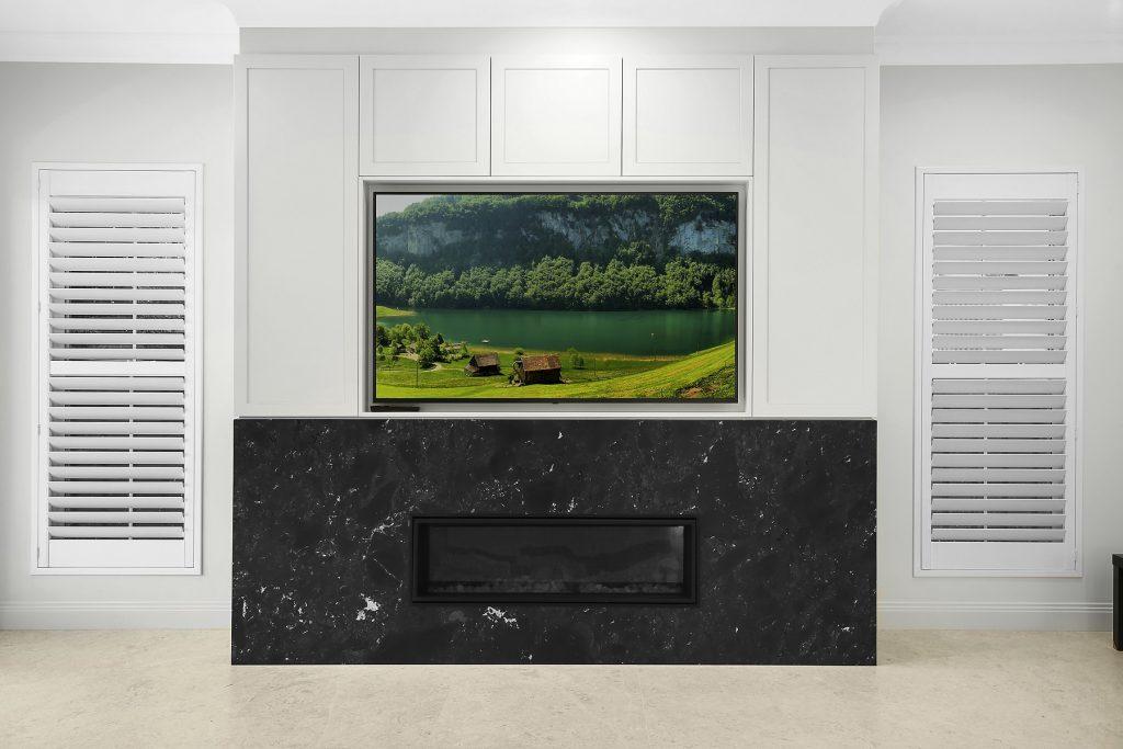 Fireplace feature stone with Shaker style AV cabinets, Earlwood - Sydney