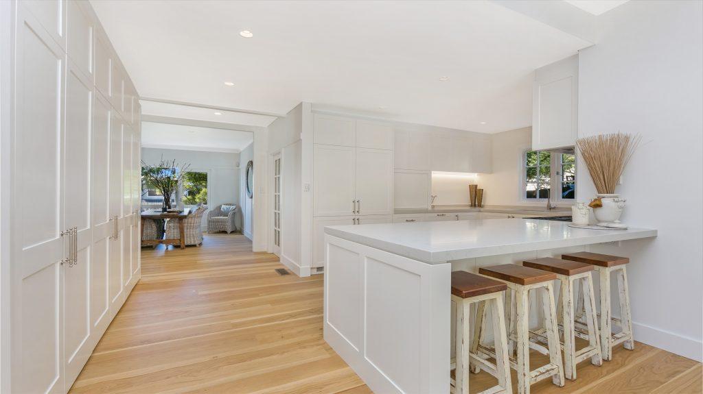 Satin Polyurethane Shaker Style kitchen with a Caesarstone Noble Grey benchtop - Collaroy, Sydney