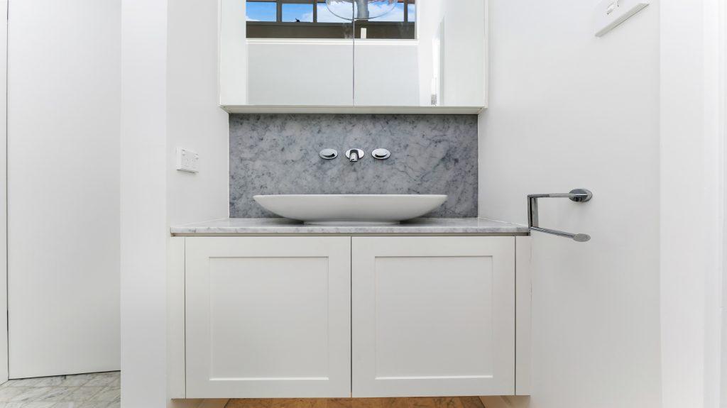 Satin Polyurethane Shaker Style vanity with stone bench - Collaroy, Sydney