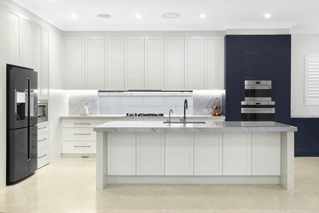 Shaker style two-tone Polyurethane kitchen with a Carrara marble benchtop - Earlwood, Sydney