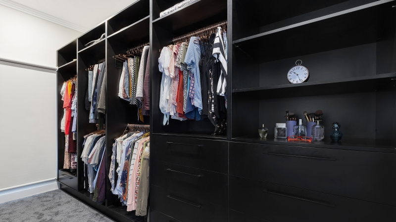 Black Laminate walk-in wardrobe - Twin Creeks, Sydney