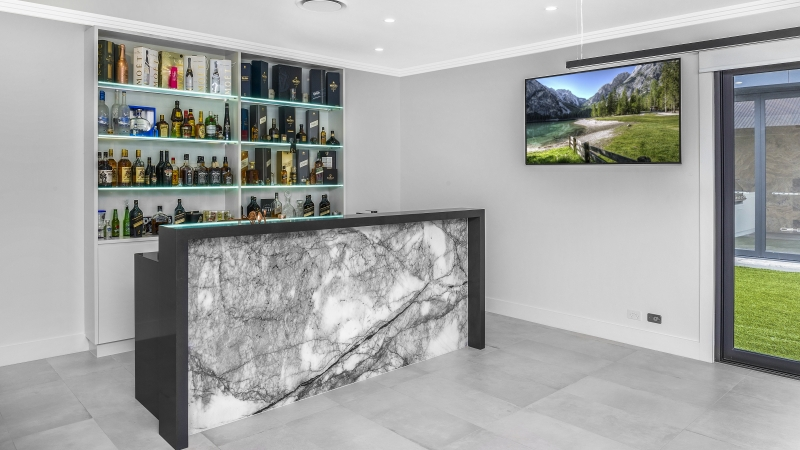 Games room bar area with New York Marble - Twin Creeks, Sydney