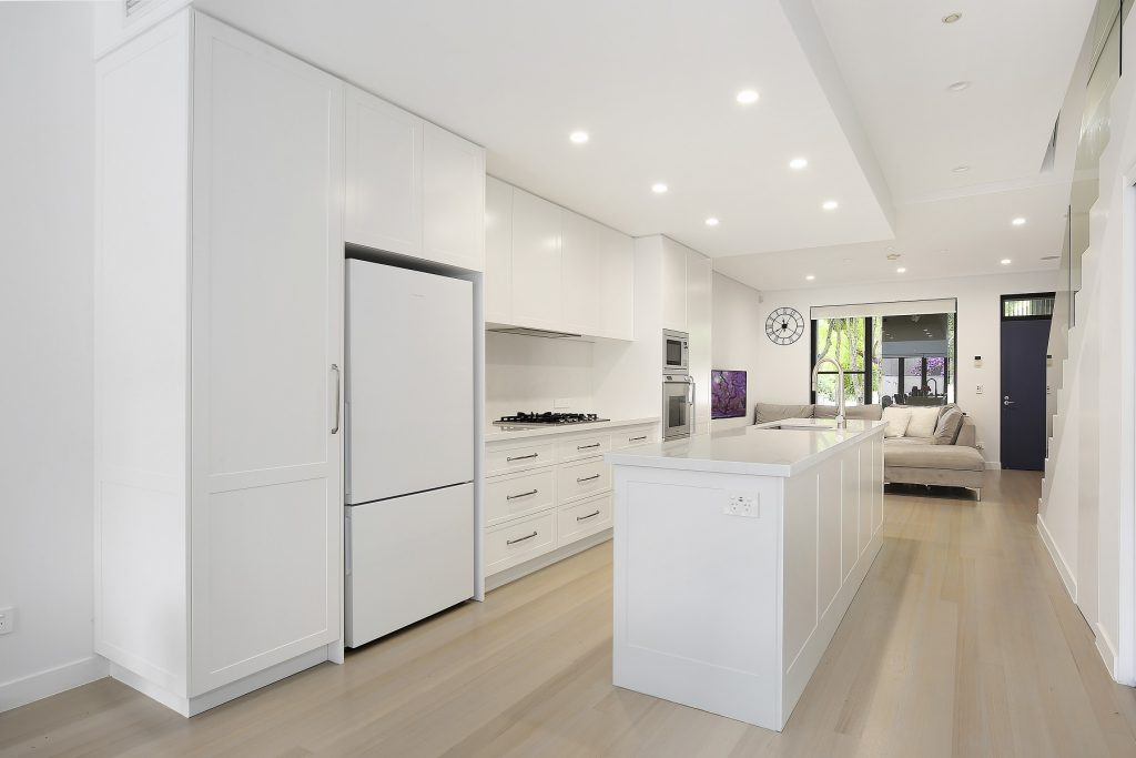 Lilyfield, Polyurethane Shaker Style Kitchen with an island bench and Michelangelo stone tops
