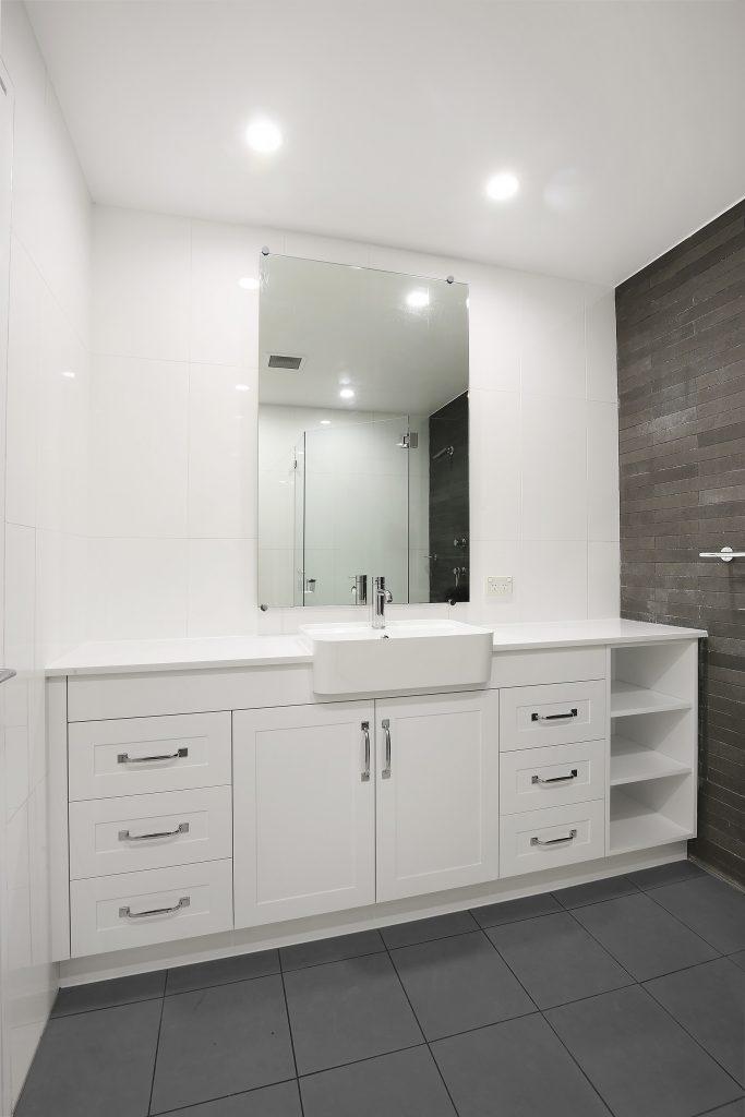 Polyurethane Shaker Style vanity with Michelangelo stone benchtop and open storage shelving - Lilyfield, Sydney