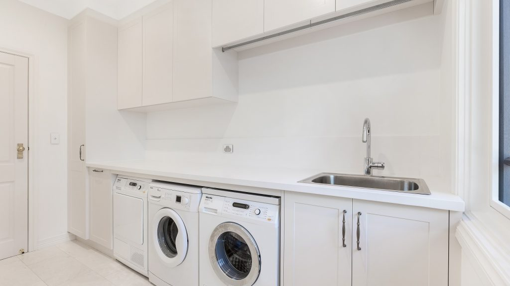Polyurethane Shaker style laundry with above bench hanging rail - Wahroonga, Sydney