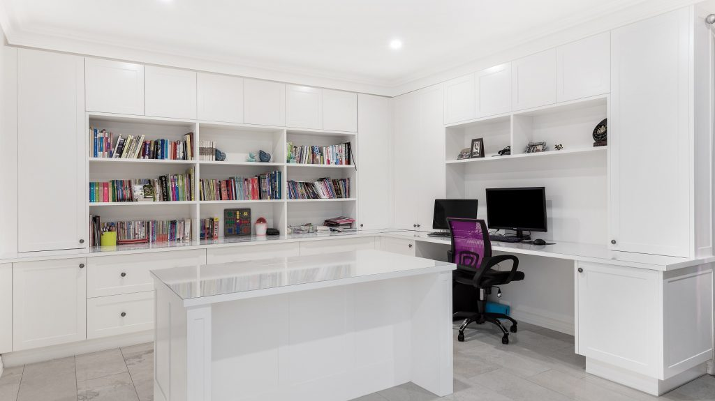 Polyurethane study fit-out with bookcase and shelving - Wahroonga, Sydney