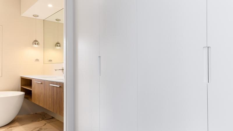 Polyurethane wardrobe with Routered handles - Oatley, Sydney