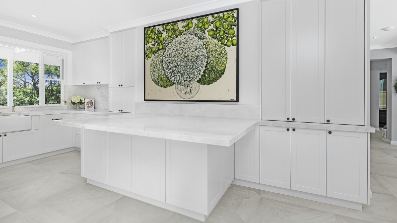 Shaker style kitchen with a Carrara marble benchtop - Oatley, Sydney