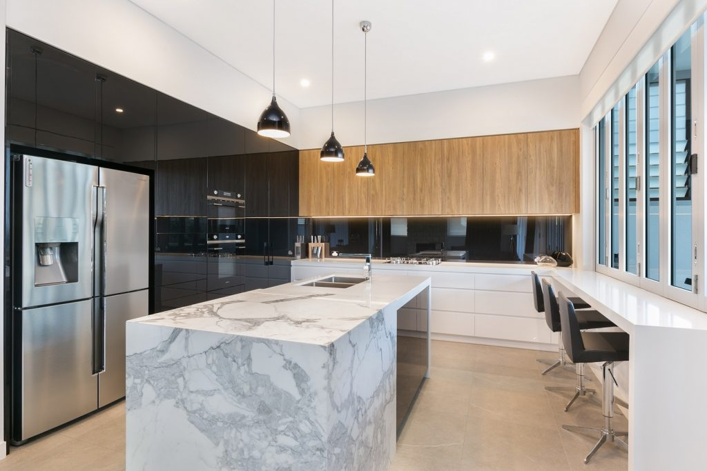 Ultraglaze Likewood kitchen with a feature island cube in a Calacutta Marble - Guildford, Sydney