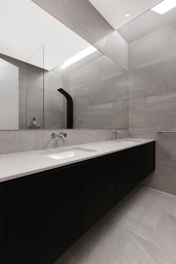 Veneer double vanity with a stone benchtop - Putney, Sydney
