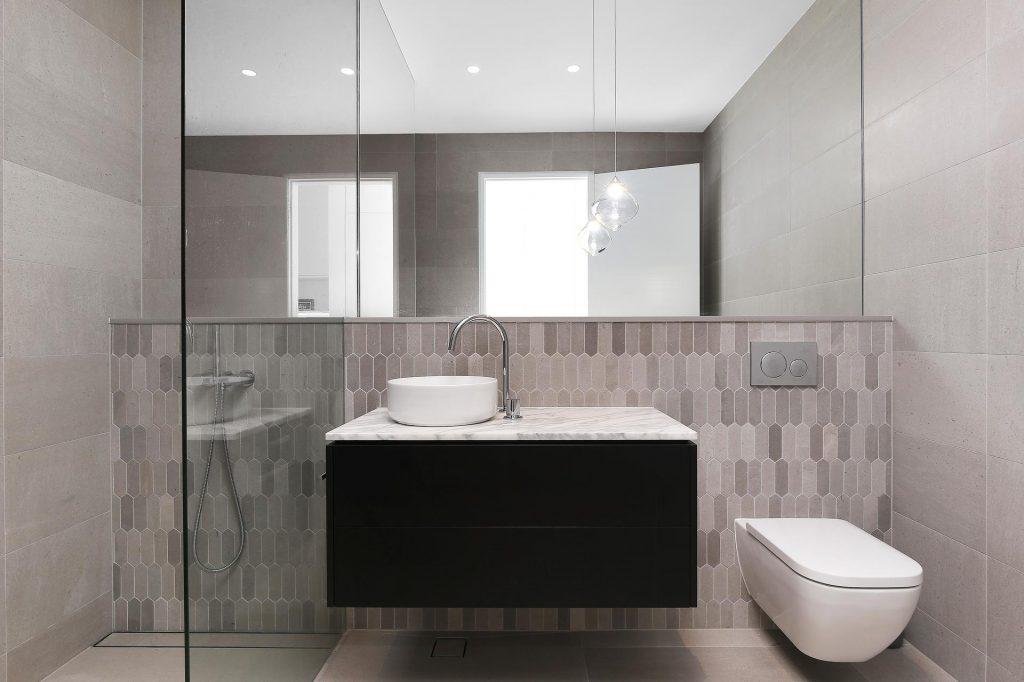 Veneer vanity with a stone benchtop - Putney, Sydney