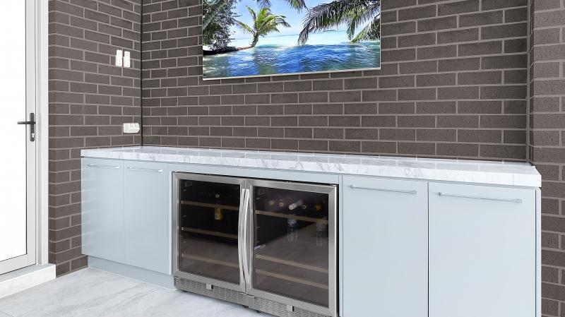 Waterproof Polyurethane outdoor BBQ area with bar fridge - Sefton, Sydney
