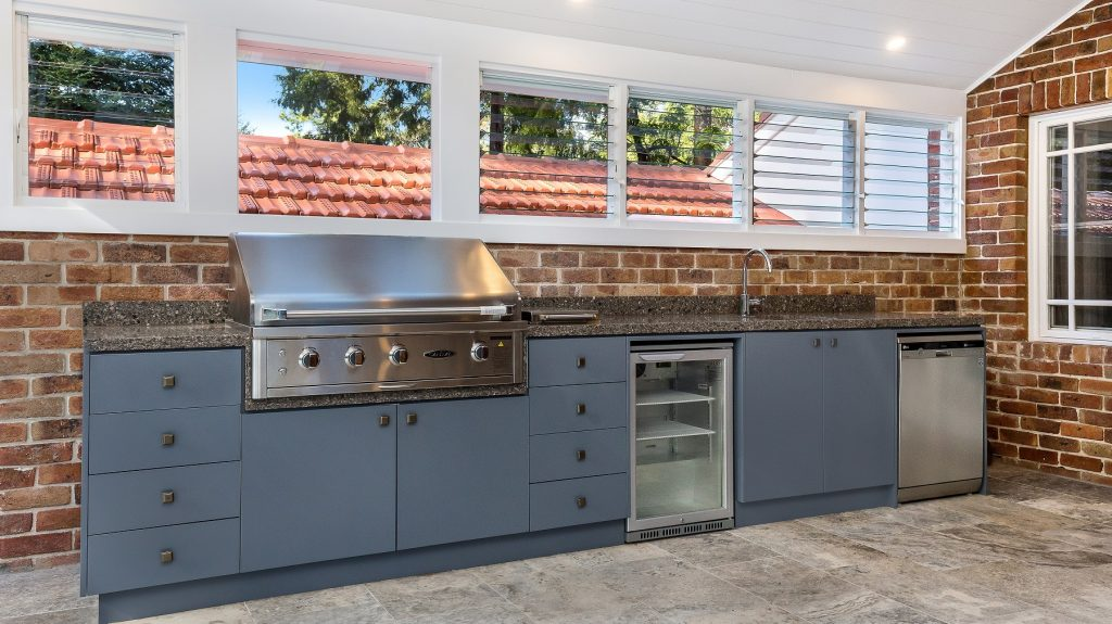 Waterproof Polyurethane outdoor BBQ area with bar fridge and granite benchtop - Wahroonga, Sydney