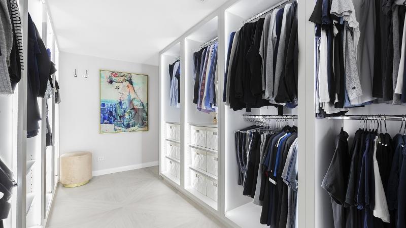 White Polyurethane walk-in wardrobe with internal LED lighting - Oatley, Sydney